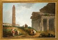capriccio : six personnages près de monuments romains en ruines, le panthéon, un obélisque et des arcades by hubert robert