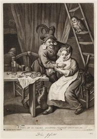 wirtshausszene - mann eine frau belästigend (after c. dusart) by pieter (petrus) schenk