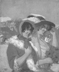 smiling beauties on the beach by marius ernest joseph azema