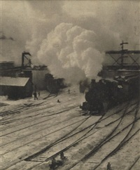 in the new york central yards (from camera work) (+ the ferry boat, going to the start; 3 works) by alfred stieglitz
