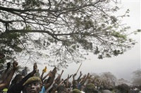 supporters of jean-pierre bemba line the road as he walks to a rally from the airport, kinshasa by guy tillim