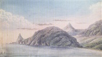 a coastal landscape with two wooded peaks by benjamin (major-general) fisher