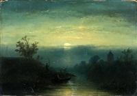 het binnenhalen van de visnetten bij nacht by johannes franciscus hoppenbrouwers