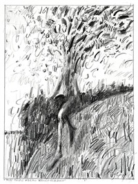 tree figure walking through seasons by john graham coughtry