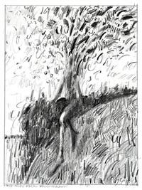tree figure walking through seasons by john graham coughtry