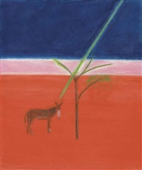 donkey under tree by craigie aitchison