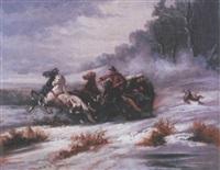 traîneau sous la neige poursuivi par les loups by serguei ivanovitch lobanoff