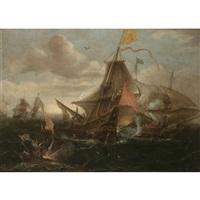 a naval engagement between spanish men-o-war and turkish galleys in heavy seas by andries van eertvelt