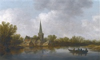 river landscape with a village on the far shore, and a rowing boat with four figures by jan josefsz van goyen