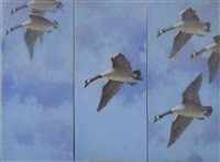 three geese in flight (triptych) by reginald f. bolles