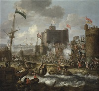 ottoman forces attacking an islet fortress by jan peeters the elder