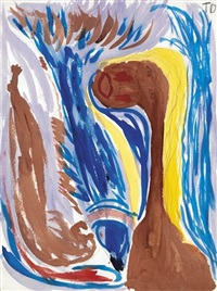 untitled (woman and fish) by thornton dial