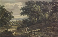 a shepherdess with her sheep on a wooded hillside by jacob van liender