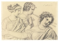 two dancers and a flutist, bust length by jacques-louis david