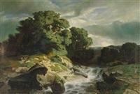 landschaft mit reißendem gebirgsbach by alexandre calame