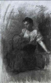 figura di giovane donna seduta by rinaldo agazzi