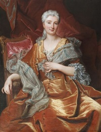 portrait de femme à la robe orange by hyacinthe rigaud