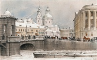 river fontanka and lomonosov bridge by luigi premazzi