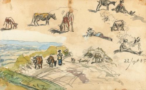 figure studies landscape recto verso by johan barthold jongkind