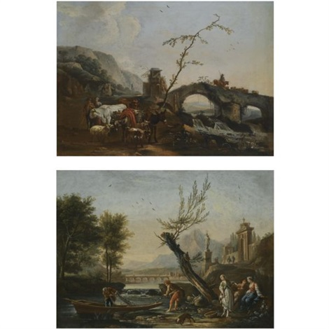 an italianate landscape with a bridge and the gates of a villa in the background figures fishing in the foreground an italianate landscape with herdsmen crossing a bridge smllr pair by jean baptiste charles claudot