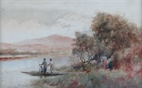 waikato river scene with figures by frank wright