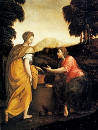 cristo e la samaritana by luca (romano) penni