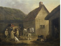 the stable yard by george morland