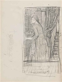 a woman preparing to open a door from inside, possibly for fatima by john william waterhouse