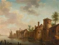flusslandschaft mit einem rundturm und häusern am ufer by frans de hulst