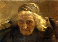 portrait of an old woman by nikolai alexeievich kasatkin