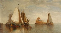 vessels in a harbour by raphael monleon y torres