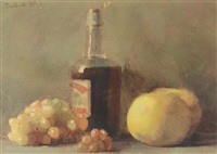 still life with fruit and wine by edmund charles tarbell
