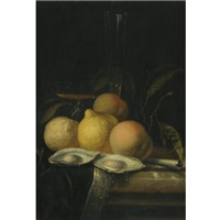 a still life with oysters, peaches and a lemon on a marble table with a fringed carpet and glasses by juriaen van streeck
