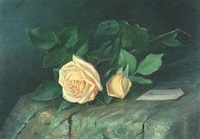 roses on a stone bench by alfrida baadsgaard