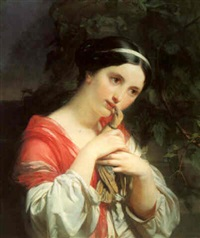 the pet dove by joseph henri françois van lerius