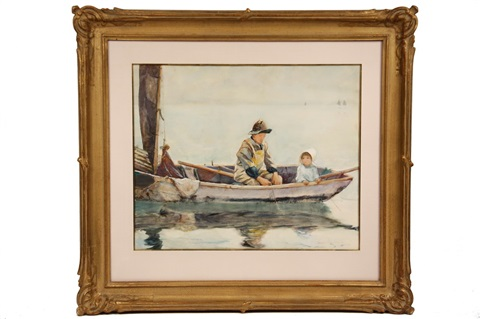 lobsterman teaching his daughter to pull trap from a dory, michigan by george wharton edwards