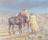 two cowboys in yellow slickers closing a gate in a rain storm by edward burns quigley