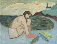 girl with fish by milton avery