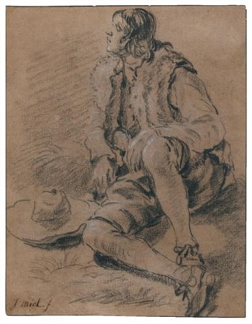 a young man seated on the ground his hat beside him study by jan miel