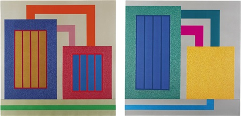 untitled (diptych) by peter halley