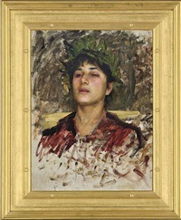study of the head of a young man, possibly for narcissus by john william waterhouse