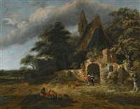 a landscape with figures outside the walls of a ruined church by salomon rombouts