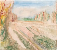 vegetable gardens - south of france (+ vines and cherry trees - the ardeche; 2 works) by norman adams