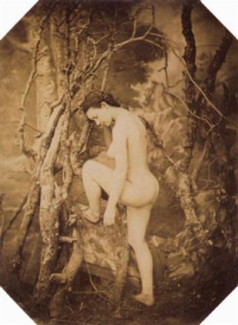nu féminin dans un décor sylvestre by joseph auguste belloc