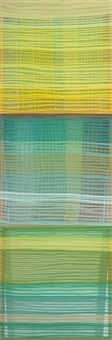 lime plaid, mint crosshatch, grass stripe (in 3 parts) by jen pack