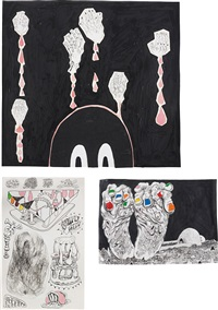 three works: (i) darkness baby with dead hands; (ii) feeeet, 2007; (iii) various ossi-units and good vegan detritus #2, 2007 by trenton doyle hancock