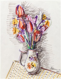 pitcher with flowers by aleksandr grigor'evich tyshler