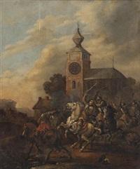 cavaleriegevecht bij kerktoren op het middaguur by simon johannes van douw