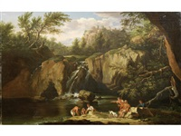 figures bathing before a waterfall, a view to tivoli in the distance by jacob de heusch