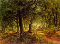 woodland scene with figures by frederick john railton
